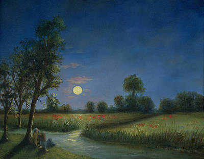 Hearts On Trees Painting - Moonlight Poppies In Argenteuil  by Cecilia Brendel