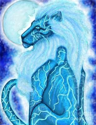 Moon Lion Art Print by Coriander  Shea