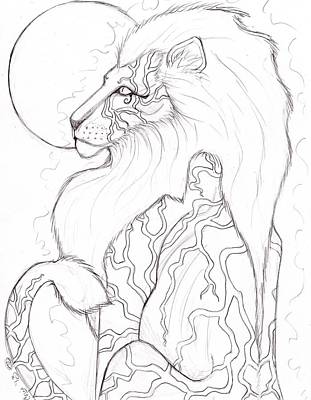 Horus Drawing - Moon Lion Sketch by Coriander  Shea