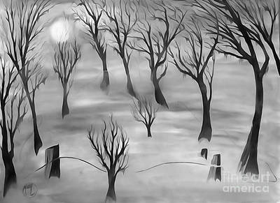 Cartoons Painting - Moon Lit Fog 2 by Justin Moore