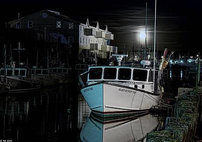 Art Print featuring the photograph Moon Lit Harbor by Richard Bean