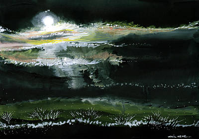 Silver Background Painting - Moon N Light by Anil Nene