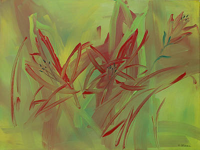 July Painting - Moon Of Red Blooming Lilies  July by Ethel Vrana