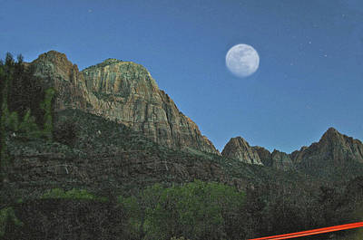Photograph - Moon Outside Zion Utah by SC Heffner