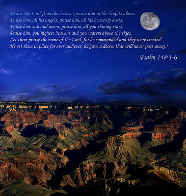 Moon Over Canyon With Psalm Art Print