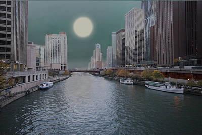 Chicago River Digital Art - Moon Over Chicago River by David Mullen