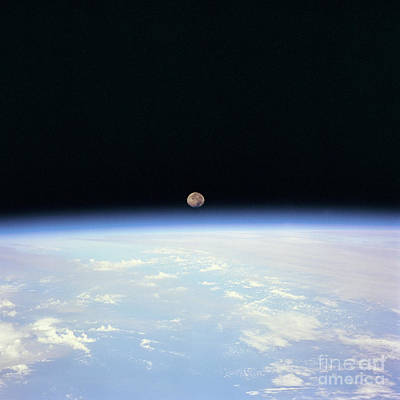 Earth Photograph - Moon Over Earth by Art Now And Here