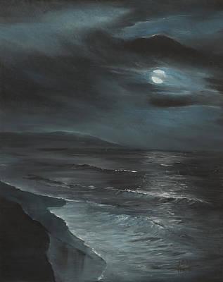 Folly Beach Painting - Moon Over Folly by Jennifer Ashe Thompson