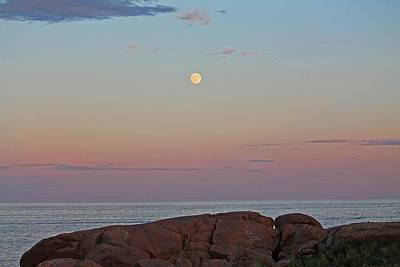 Photograph - Moon Over Gloucester Ma by Michael Saunders