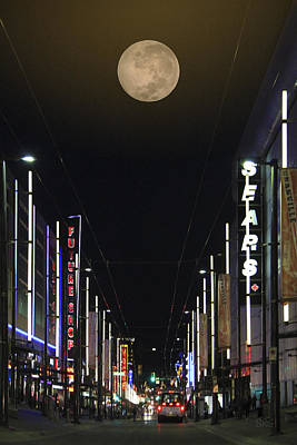 Moon Over Granville Street Art Print by Ben and Raisa Gertsberg
