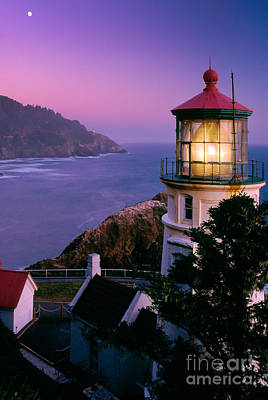 Beacon Wall Art - Photograph - Moon Over Heceta Head by Inge Johnsson