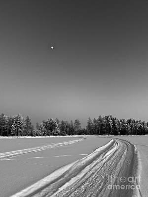 Photograph - Moon Over Ice Road by Ismo Raisanen