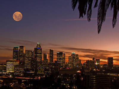 Photograph - Moon Over L.a. by Guillermo Rodriguez