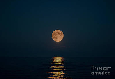 Moon Over Lake Of Shining Waters Art Print