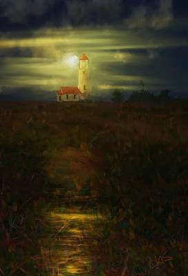 Painter Digital Art - Moon Over Lighthouse by Dale Stillman