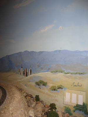 Desert Scape Painting - Moon Over Lost Wages In Train Room by Maria Hunt