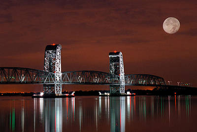 Art Print featuring the photograph Moon Over Marine Parkway Bridge - Gil Hodges Memorial Bridge by Gary Heller