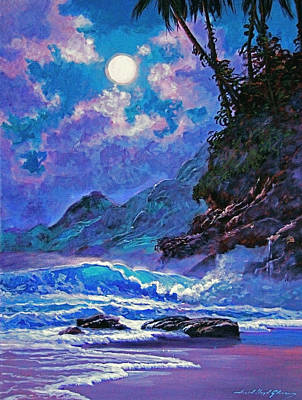 Moonlight Painting - Moon Over Maui by David Lloyd Glover