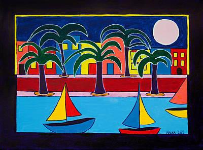 Moon Over Miami Art Print by Marlene MALKA Harris