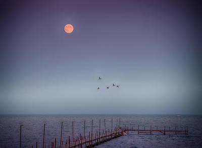 Moon Over Lake Mille Lacs Art Print