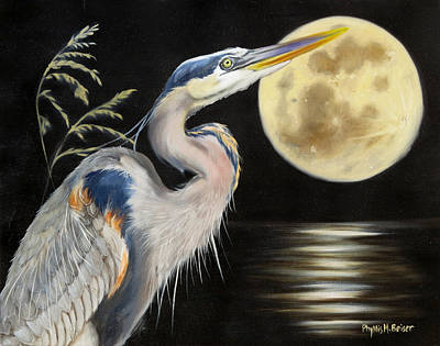 Sea Moon Full Moon Painting - Moon Over Mississippi A Great Blue Herons Perspective by Phyllis Beiser