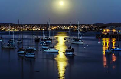 Moon Over Monterey Bay Art Print by Joseph S Giacalone