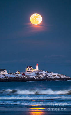 New England Landscapes Photograph - Moon Over Nubble by Benjamin Williamson