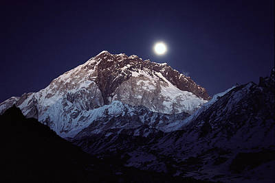 Moon Over Nuptse Nepal Art Print by Colin Monteath