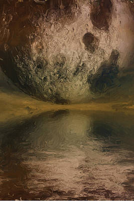 Deep Space Art Painting - Moon Over Ocean by Inspirowl Design