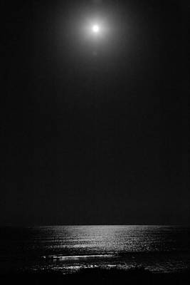 Moon Over Ocean Art Print
