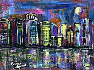 Museum Mixed Media Mixed Media - Moon Over Orlando by Everett Spruill