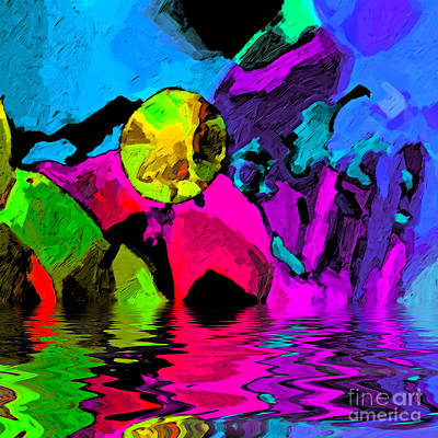 Digital Art - Moon Over Pink Iceberg Abstract by Dee Flouton