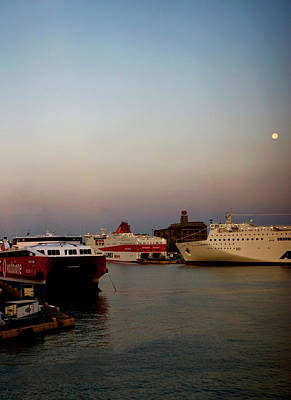 Photograph - Moon Over Piraeus Port by Lorraine Devon Wilke