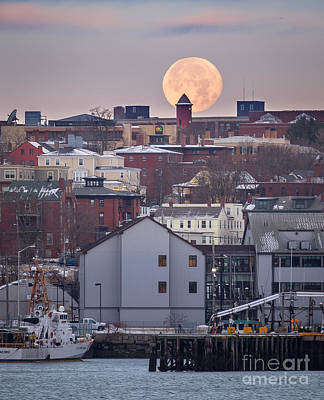 Photograph - Moon Over Portland by Benjamin Williamson