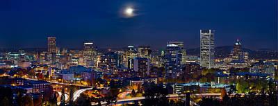 Moon Over Portland Oregon City Skyline At Blue Hour Art Print