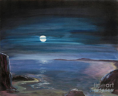 Sea Moon Full Moon Painting - Moon Over Quiet Ocean by Jayne Schelden