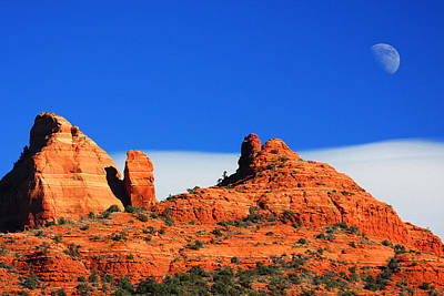 Art Print featuring the photograph Moon Over Sedona by Tom Kelly