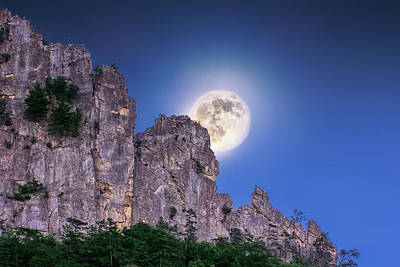 Photograph - Moon Over Seneca Rocks by Mary Almond