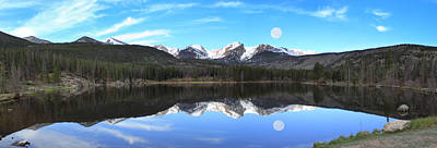 Reflection Photograph - Moon Over Sprague Lake by Shane Bechler