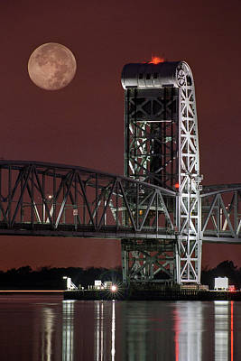 Photograph - Moon Over Steel - Gil Hodges Memorial Bridge by Gary Heller