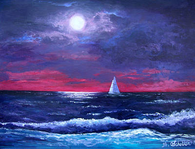 Sea Moon Full Moon Painting - Moon Over Sunset Harbor by Amy Scholten