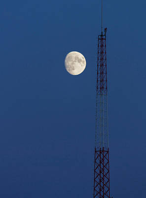 Moon Over Telecommunications Tower Art Print