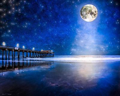 Moon Over The Beach At Tybee Island Art Print