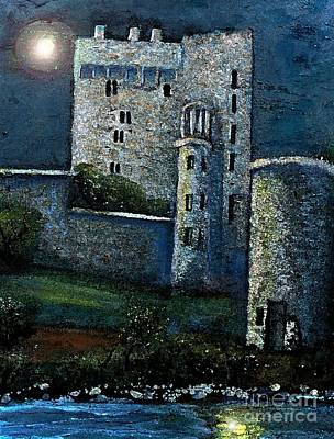 Blarney Castle Painting - Moon Over The Blarney Castle by Rita Brown