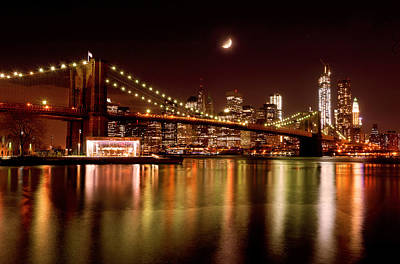 Moon Over The Brooklyn Bridge Art Print by Mitchell R Grosky