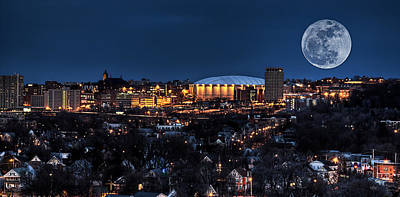 Oregon State Photograph - Moon Over The Carrier Dome by Everet Regal