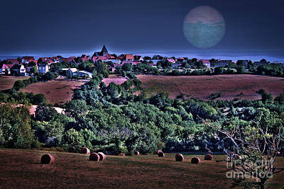 Moon Over The Fields Art Print