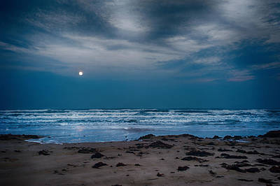 Moon Over The Gulf Art Print by Tammy Smith