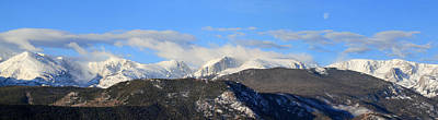 Photograph - Moon Over The Rockies - Panorama by Shane Bechler