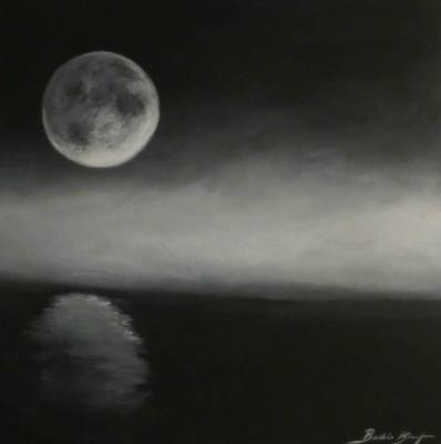 Moon Over The Shores Art Print by Barbie Baughman